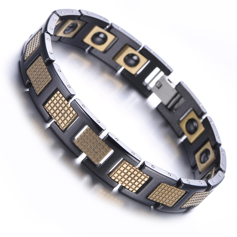 Mens Tungsten Bracelet, Rose Gold, White, 79