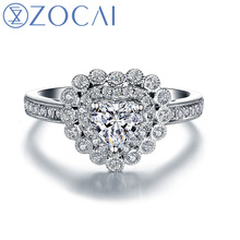 ZOCAI STARRY SKY Series 100% natural  0.57 ct certified diamond heart shape engagement ring 18K white gold ring W05980