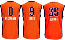 Cheap 2016 New Season 0 Russell Westbrook Jersey 35 Kevin Durant jersey, 9 Serge Ibaka Basketball Jerseys Orange Free shipping !