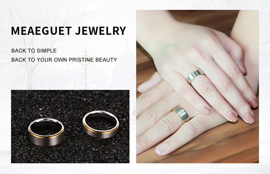 Meaeguet Classic Couple Wedding Rings For Men Women Titanium Steel Lover's Engagement Wedding Bands Alianca De Casamento (2)