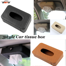 Practicality Auto sun visor /seat/Hanging Type Leather Car Tissue box Case Holder Napkin paper Tissue Universal car accessories(China)