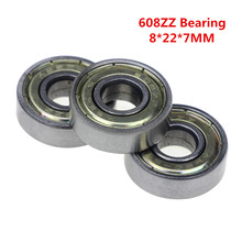 1pcs Double Shielded Miniature High-carbon Steel Single Row 608ZZ ABEC-7 Deep Groove Ball Bearing 8*22*7 8x22x7 mm 608 ZZ 2Z