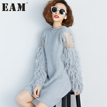 Buy new 2017 Fashion stitching knitting lantern sleeves long paragraph long-sleeved solid color gray dress AS17842 for $22.10 in AliExpress store