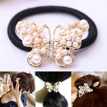 Hot Sale Imitation Pearls Butterfly Hair Rope Crystal Hair Band Elastic Headband acessories Gifts
