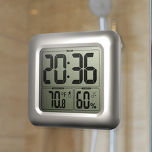 LCD Digital Wall Clock With Suction Cup Kitchen Floor Clock Temperature Humidity Sensor Time Square Waterproof Bathroom Clock(China)