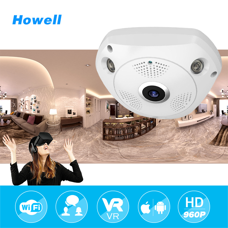 Howell HD 960P Wifi VR Panoramic Camera 360 Degree CCTV Security Video Surveillance Home IP Camera Baby Monitor Support TF Card<br>