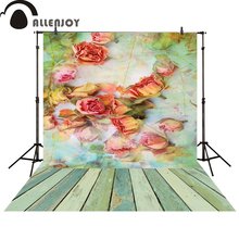 Allenjoy photography background pink rose in the river wood floor newborn photo studio photocall backgrounds(China)