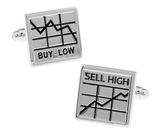 1 Pair Retail Men's Cufflinks Silver Color Novelty Buy Low & Sell High The Stock Market Design