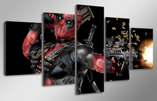 5 Pcs With Framed HD Printed deadpool mask gun automatic Painting room decor print poster picture canvas framed asian wall art