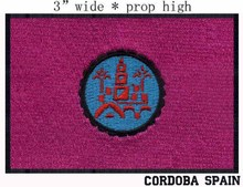 "Cordoba, Spain Flag 3"" wide embroidery patch  for red applique/tree circle/flower embroidery patch"
