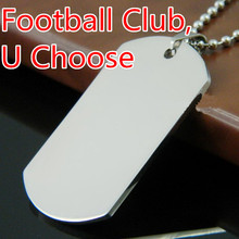 Cool Men Women's Silver Stainless Steel Dog tag Football Club Pendant Necklaces With Free Chain GIft