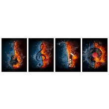 4 Panel Music Canvas Painting Water&Fire Instrument Series Picture Print Electric Guitar,Music Note,Saxophone Turntable Wall Art(China)