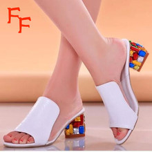 Fashion Women's Summer Sandals Flowers Print Cude High Heels Flip Flops Fish Mouth Shoes For Woman Plus Size 36-41