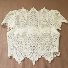 Summer Style Lace Crochet Crop Tops Girls Short Sleeve White Blouse Women Sexy Hollow Out Tops LM58(China)