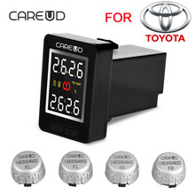 CAREUD U912 TPMS Car Tire Pressure Wireless Monitoring System 4 External Sensors and LCD Display Embedded Monitor for Toyota