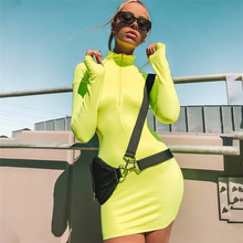 ZHYMIHRET 2018 Autumn Neon Color Dress For Women Sexy Skinny Zipper Front Long Sleeve Dress Fall Party Mini Vestidos Female(China)