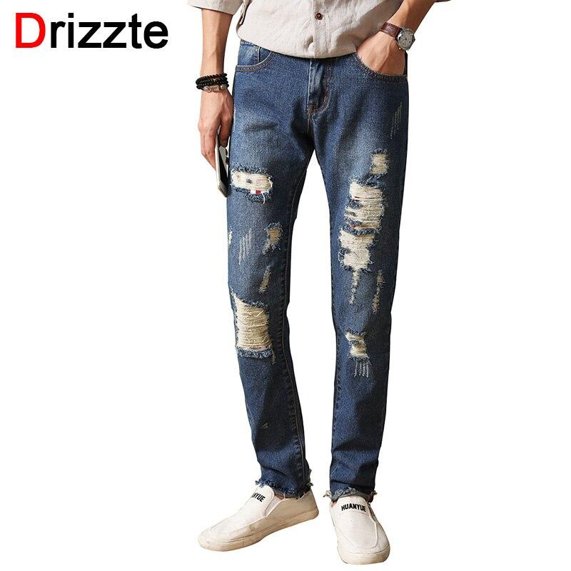 Drizzte Fashion Mens Jeans Ripped Distress Holes Blue Denim Trousers Pants Men Slim Jeans Size 30 32 34 35 36 38 JeansОдежда и ак�е��уары<br><br><br>Aliexpress