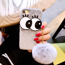 1 Pc/lot Plush+PC DIY Big Eyes Seto Rabbit Hairball Strap Fluff Back Cover Cell Phone Case For iPhone 7 6s Plus