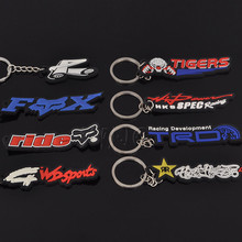 Motorcycle Moto Car Rubber badge Keychain keyring Key Chain Ring For Toyota TRD FX Ride Harley Davidson Kawasaki HKS Specr 46(China)