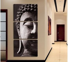 3 Panel Wall Art Religion Buddha Oil Style Painting On Canvas No Framed Room Panels For Home Modern Decoration Art Print Picture(China)
