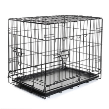 "2 Door Pet Folding Dog Cat Crate Cage Kennel w/ABS Tray (black, 24"" Pet Folding Cage)"