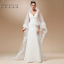 Voile Mariage Cheap Long Lace Edge Wedding Veil Ivory White Cathedral Wedding Veil Velos de Novia Wedding Accessories