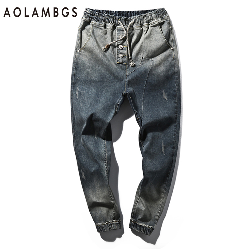 Jeans Men Fashion Gradient Color Slim Fit Denim Pants 2016 Autumn New Casual Washed Trousers Haren Pencil Pants Plus Size M-5XLÎäåæäà è àêñåññóàðû<br><br>