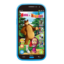 Blue Mobile Phone Toy Masha And Bear Russian Language Kids Electronic Music Toys Cellphone Telephone