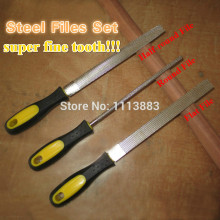 "3PCS/SET 8"" Inch Diamond File Needle File Kit(Round,Half-round,Flat File) Jewelers Diamond Wood Carving Craft Tools"