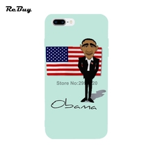 Obama Case For Iphone 7/7plus With String Hole Soft TPU Ultra-thin Colorful Protect Cover For Iphone 6/6s/6plus/6s Plus(China)