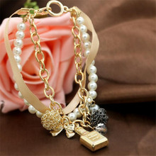 Fashion Jewelry Popular Elements Perfume Bottle And Water Drop Pendants Multi Layer Metal Ribbon Mixed Bracelets Femme Gift(China)