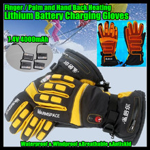 7.4V 4000MAH USB Electric Heat Gloves,Outdoor Ski Sport Lithium Battery Self Heating,Finger/Palm/Hand Back Heating,3 Gear 6-12H