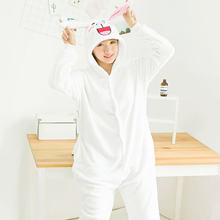 4263e29cd8 Adultos animal Cosplay conejo blanco cos jumpsiut unisex flannel onesies  pijama carnaval cos pijama trajes de Halloween