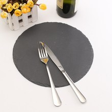 Natural Slate Placemats Round Mat Coasters Tableware Table Runner Dining Table Placemat Retro Coffee Tea Place Mat