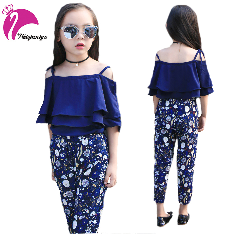 2017 New Brand Baby Girls Summer Suits Fashion Solid Shirt+Print Pants Two-Piece Clothing Childrens Casual O-Neck Sets Hot Sale<br>