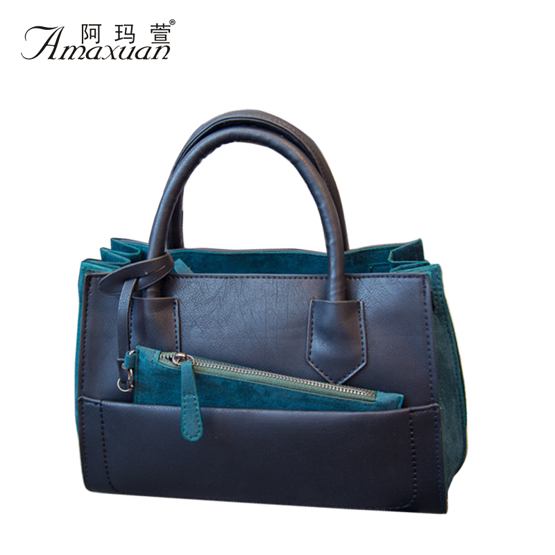 Hot Sale 2015 New Fashion Women PU Leather Handbags Stitching Women Shoulder Bags Messenger Bags Casual Tote Bolas BH1190<br><br>Aliexpress