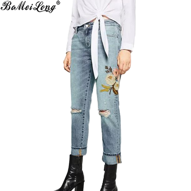 Boyfriend Flower Embroidery Hole Ripped Jeans Women Pants Cool Denim Vintage Straight Jeans For girl Mid Waist Casual Pants Îäåæäà è àêñåññóàðû<br><br>