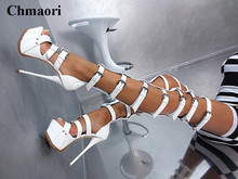 Sexy Strap Design Buckle Over Knee Platform Thigh Gladiator Boots Cut-out Black White Patent Leather High Heel Sandals Boots(China)