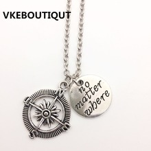 Hot! Fashion NO MATTER WHERE & Compass Best Friends Women And Men Necklace GIFT