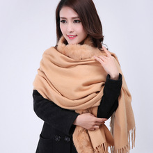 Top Sale Camel Women's 100% Wool Pashmina Cashmere Shawl Scarf Rabbit Fur Cape Europe And America Style Tippet 176 x 68cm