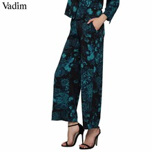 Vadim vintage floral wide leg pants pockets elastic waist European style ladies casual loose trousers pantalones mujer KZ1161(China)
