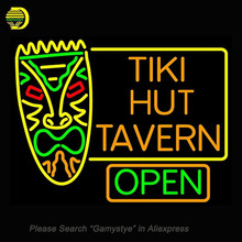 Neon Signs For Tiki Hut Tavern Bar Neon Bulbs Sign Handcraft Recreation Room Neon Light Advertise Beer Pub Signs Lighted 24x30