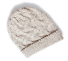 add thick 100%goat cashmere twisted knit winter fashion beanie hats unisex bonnets beige brown 2color EU/M(56-58cm)(China)