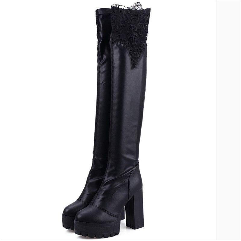 Women shoes Knee-High Women long Round High heels Autumn Winter Boots High Boots Bud silk black hot platform boots Riding boots<br><br>Aliexpress