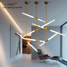 NEW Nordic Modern LED Tube pendant lamp light bar Ac90-260v 360 Rotation Universal lighting fixtures Living Room restaurant new