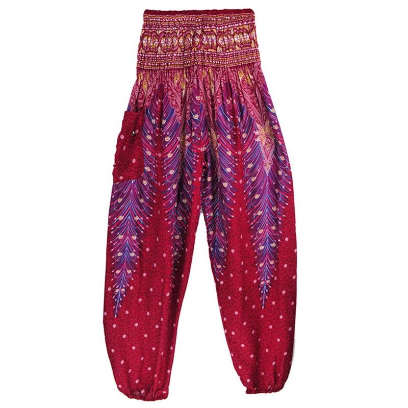 Women Comfy Yoga Boho Pants Long Beach Summer Pants Thai Harem Trousers Casual Loose Floral Trousers One Size