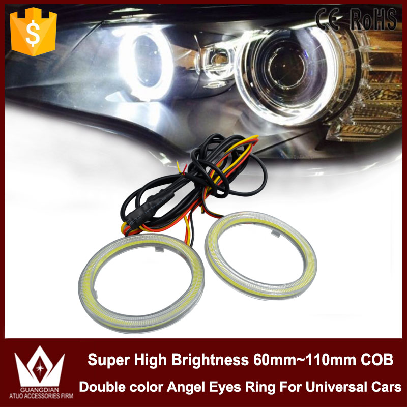 Night Lord 60mm Dual color angel eyes ring cob led light 12V  led cob angel eye driver white&amp;yellow /blue &amp;yellow<br><br>Aliexpress
