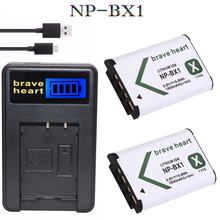 2x 3.7v 1600mAh bateria NP-BX1 np bx1 battery NPBX1 + LCD USB charger for Sony HDR-AS100v AS30 AS15 DSC-RX100 HX400 WX350 camera