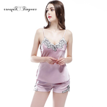 New Spring and summer Ladies' pajama Good quality Breathable M-XXL Lace Floral V-neck Silk shorts 5 Colors optional