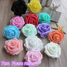 5pcs 7cm Realistic Foam Rose Artificial Flowers For Wedding Car Decoration Mariage Flores Rosa Scrapbooking Pompom Craft Flower